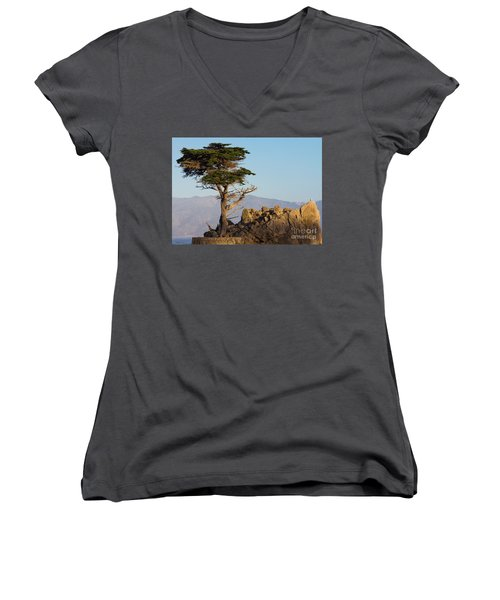 Lone Cypress Tree  Women's V-Neck (Athletic Fit)