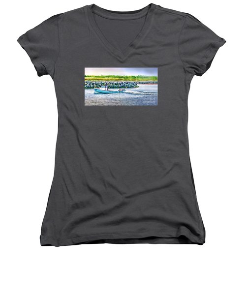 Lobster Fishing Day's End Women's V-Neck T-Shirt (Junior Cut) by Patricia L Davidson
