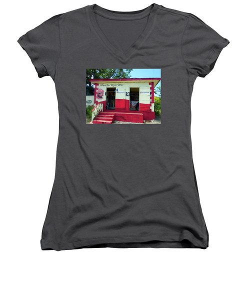 Women's V-Neck T-Shirt (Junior Cut) featuring the photograph Local Rum Shop, Barbados by Kurt Van Wagner