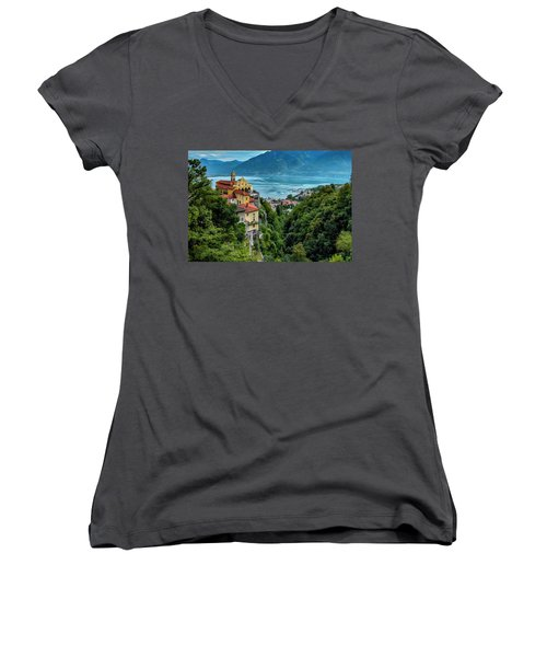 Locarno Overview Women's V-Neck T-Shirt (Junior Cut) by Alan Toepfer