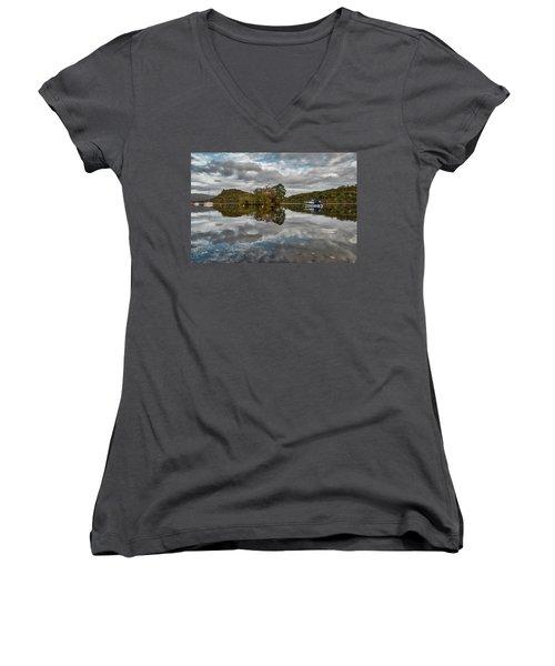 Loch Lomond At Aldochlay Women's V-Neck T-Shirt (Junior Cut) by Jeremy Lavender Photography
