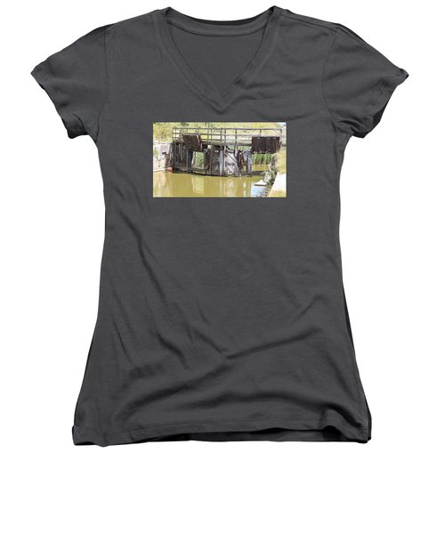 Lock Women's V-Neck T-Shirt (Junior Cut) by Keith Sutton