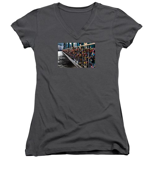 Locks Of Lock Bridge Women's V-Neck T-Shirt (Junior Cut) by Alpha Wanderlust