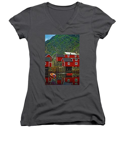 Lofoten Fishing Huts Women's V-Neck T-Shirt (Junior Cut) by Steve Harrington