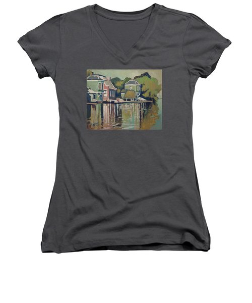 Lofts Along The River Zaan In Zaandam Women's V-Neck T-Shirt