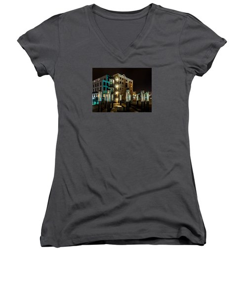 Lofts Overlooking Water Forest Women's V-Neck T-Shirt (Junior Cut) by Rob Green
