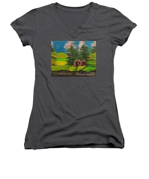 Log Cabin Women's V-Neck T-Shirt (Junior Cut) by Brindha Naveen