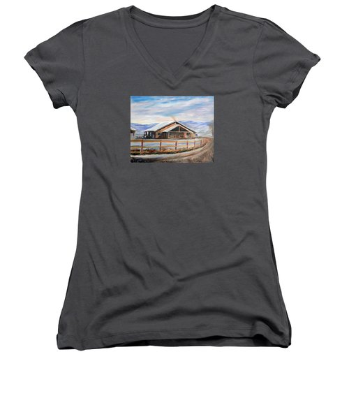 Log Cabin House In Winter Women's V-Neck T-Shirt (Junior Cut) by Sherril Porter