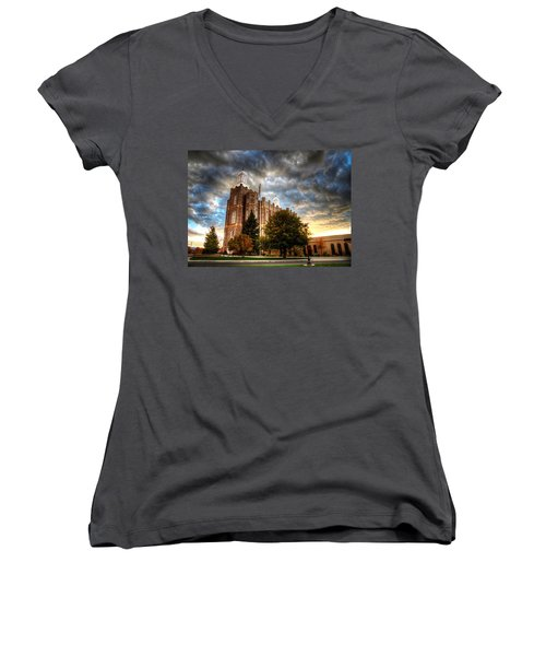 Logan Temple Cloud Backdrop Women's V-Neck T-Shirt