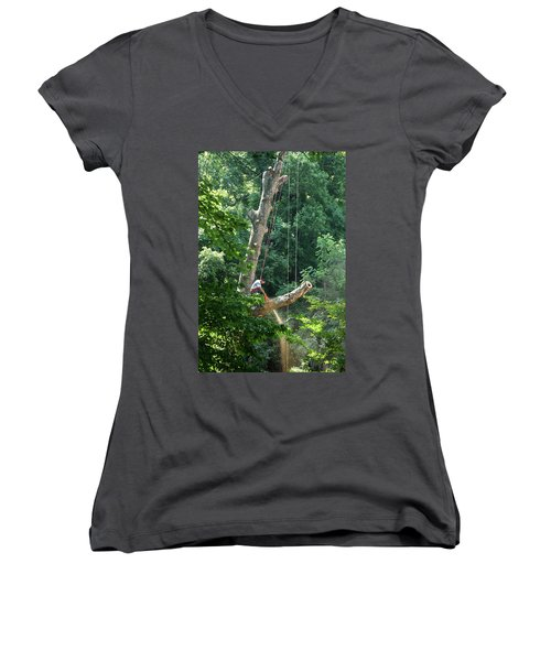 Logger Cutting Down Large, Tall Tree Women's V-Neck