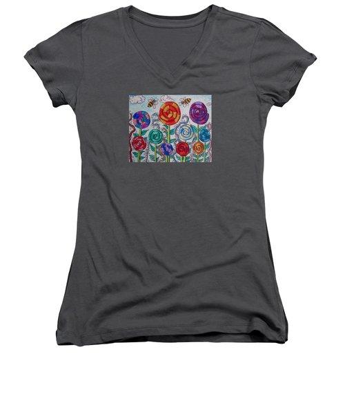 Lollipop Garden Women's V-Neck T-Shirt (Junior Cut) by Megan Walsh