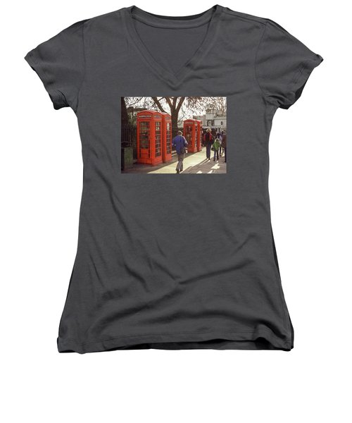 London Call Boxes Women's V-Neck T-Shirt (Junior Cut) by Jim Mathis