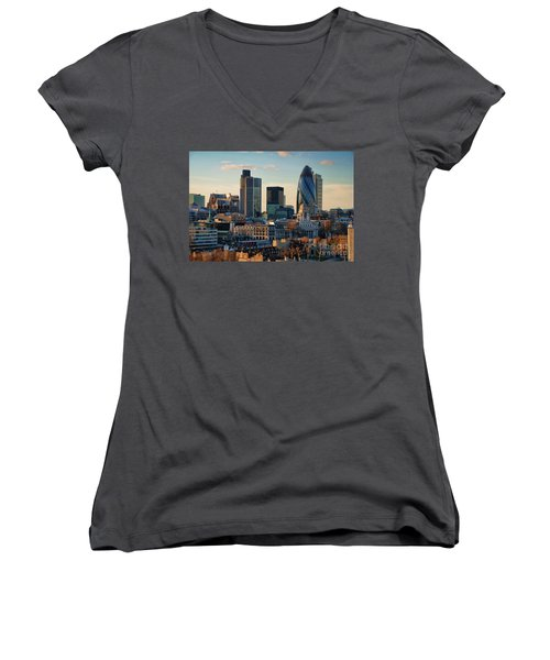 Women's V-Neck T-Shirt (Junior Cut) featuring the photograph London City Of Contrasts by Lois Bryan