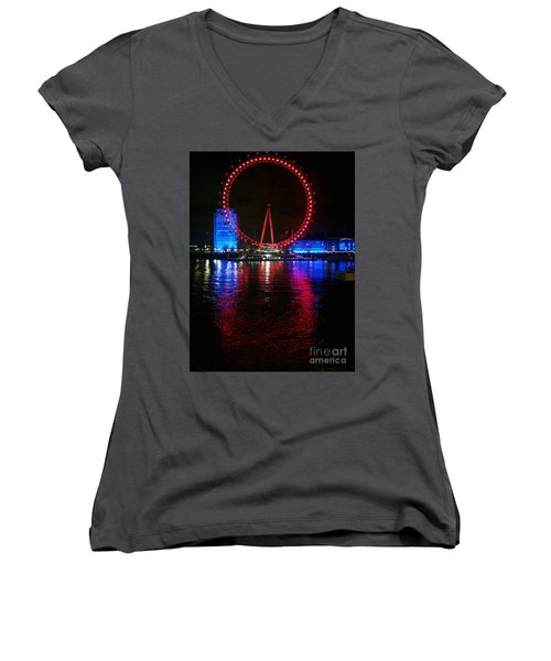 Women's V-Neck T-Shirt (Junior Cut) featuring the photograph London Eye At Night by Hanza Turgul