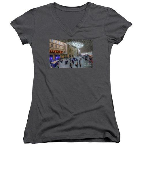 Women's V-Neck T-Shirt (Junior Cut) featuring the photograph London King's Cross by Yhun Suarez