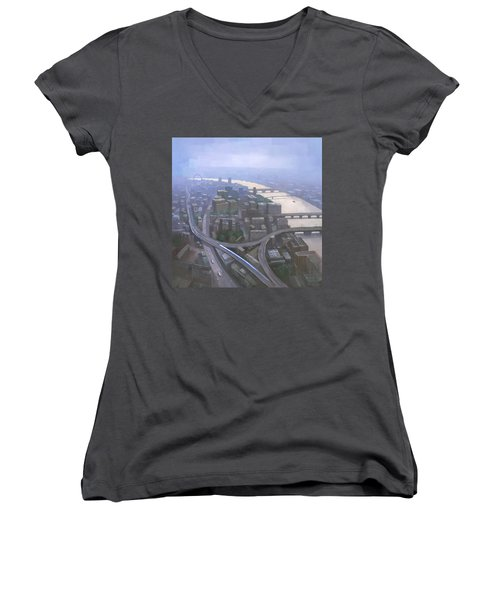 London, Looking West From The Shard Women's V-Neck T-Shirt (Junior Cut) by Steve Mitchell