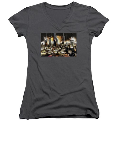 Women's V-Neck T-Shirt (Junior Cut) featuring the painting London Skyline by Kai Saarto