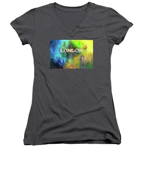 London - Skyline Women's V-Neck T-Shirt