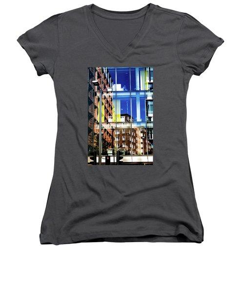 London Southwark Architecture 2 Women's V-Neck T-Shirt (Junior Cut) by Judi Saunders