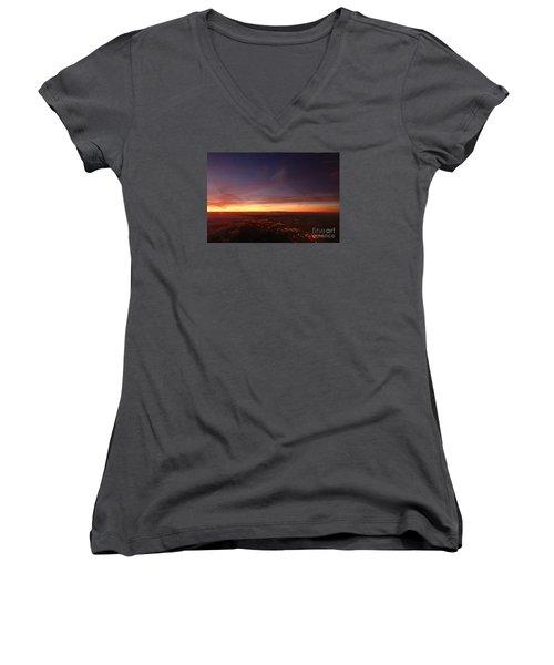 London Sunset Women's V-Neck T-Shirt (Junior Cut) by AmaS Art