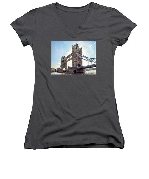 Women's V-Neck T-Shirt (Junior Cut) featuring the photograph London - The Majestic Tower Bridge by Hannes Cmarits