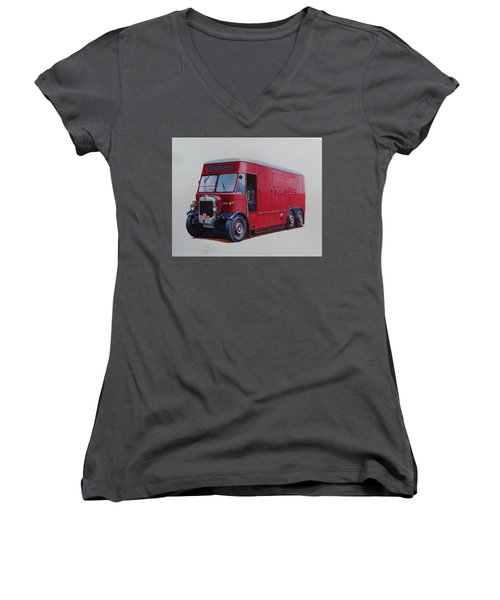 Women's V-Neck T-Shirt (Junior Cut) featuring the painting London Transport Wrecker. by Mike Jeffries