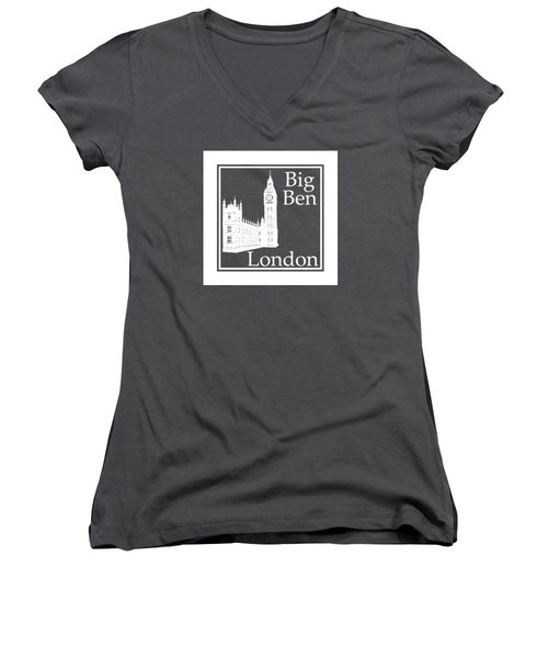 London's Big Ben In White - Inverse  Women's V-Neck T-Shirt (Junior Cut) by Custom Home Fashions