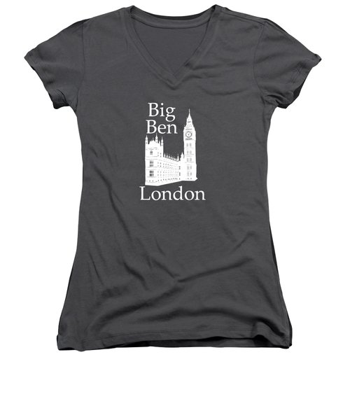 London's Big Ben In White - Vertical Women's V-Neck T-Shirt