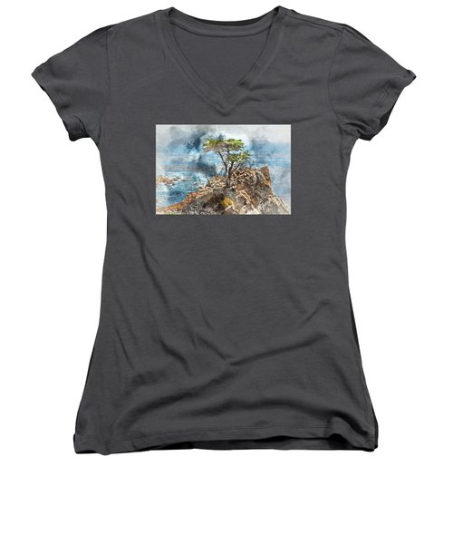 Lone Cypress In Monterey California Women's V-Neck T-Shirt