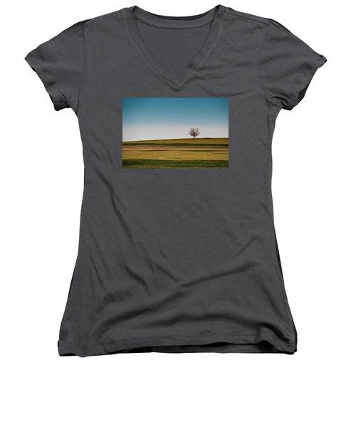 Lone Hawthorn Tree II Women's V-Neck T-Shirt