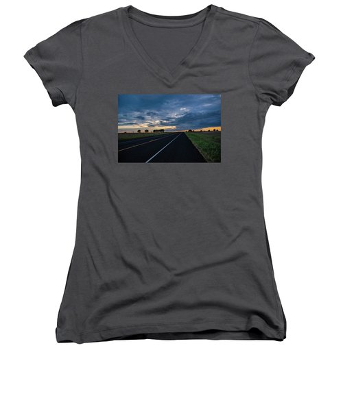 Lone Highway At Sunset Women's V-Neck