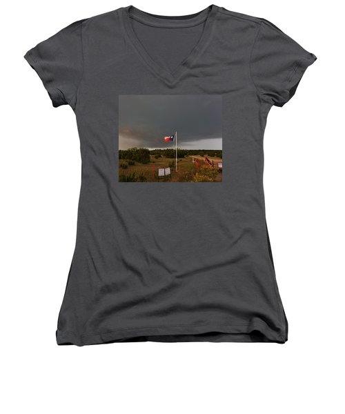 Lone Star Supercell Women's V-Neck T-Shirt (Junior Cut) by Ed Sweeney