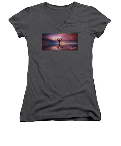 Lone Tree Sunrise Women's V-Neck T-Shirt (Junior Cut) by Ian Mitchell