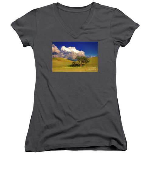 Women's V-Neck T-Shirt (Junior Cut) featuring the photograph Lone Tree With Storm Clouds by John A Rodriguez