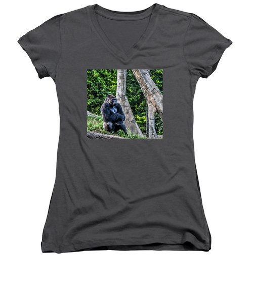 Women's V-Neck T-Shirt (Junior Cut) featuring the photograph Lonely Gorilla by Joann Copeland-Paul