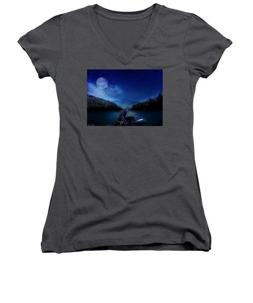 Lonely Hunter Women's V-Neck T-Shirt (Junior Cut) by Bernd Hau
