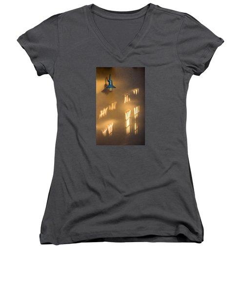 Lonely Lamp Among Sunrise Window Light Reflections Women's V-Neck T-Shirt (Junior Cut) by Gary Slawsky