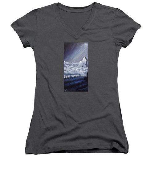 Lonely Mountain Women's V-Neck T-Shirt (Junior Cut) by Dan Wagner
