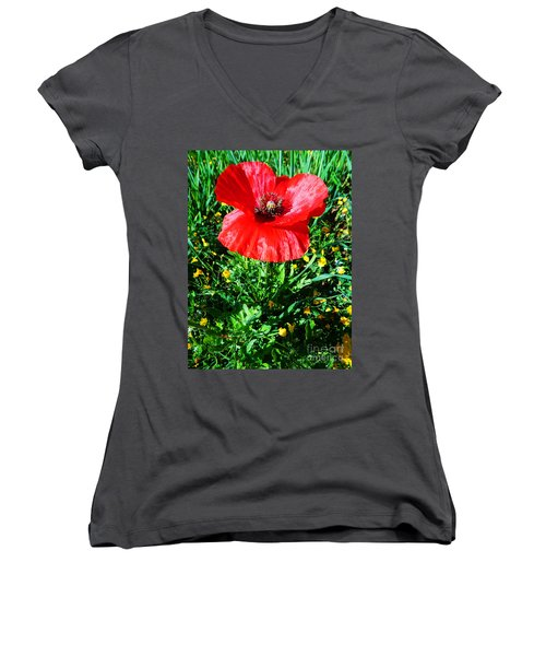 Lonely Poppy Women's V-Neck T-Shirt