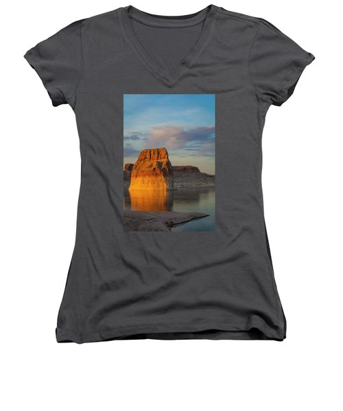 Lonely Rock Women's V-Neck T-Shirt (Junior Cut) by David Cote