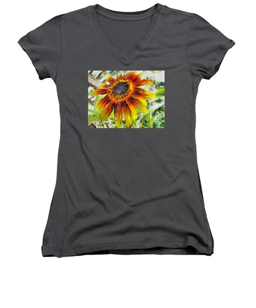 Lonely Sunflower Women's V-Neck T-Shirt (Junior Cut)