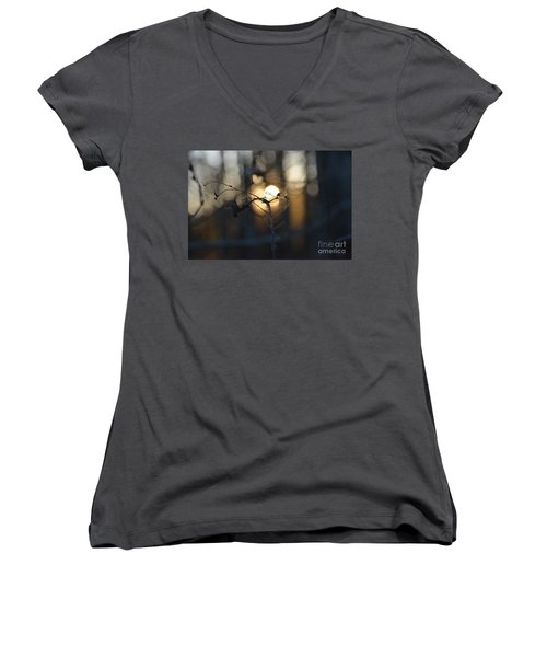 Lonely Tree Branch With Bokeh Love -georgia Women's V-Neck