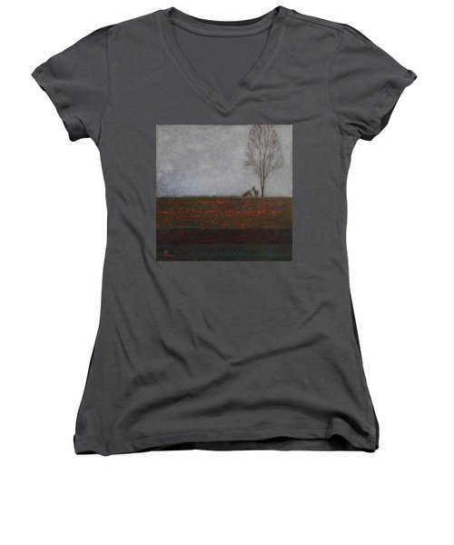 Lonely Tree With Two Roes Women's V-Neck