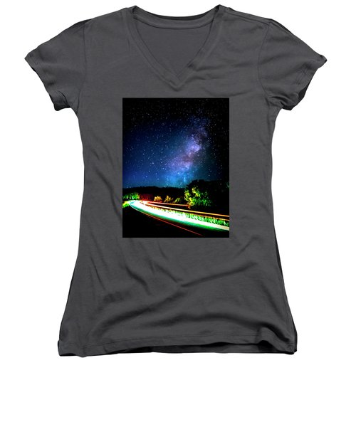 Women's V-Neck T-Shirt (Junior Cut) featuring the photograph Lonesome Texas Highway by David Morefield