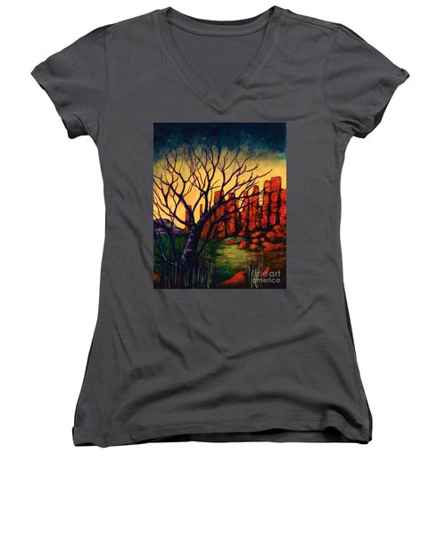 Lonesome Tree  Women's V-Neck T-Shirt (Junior Cut)
