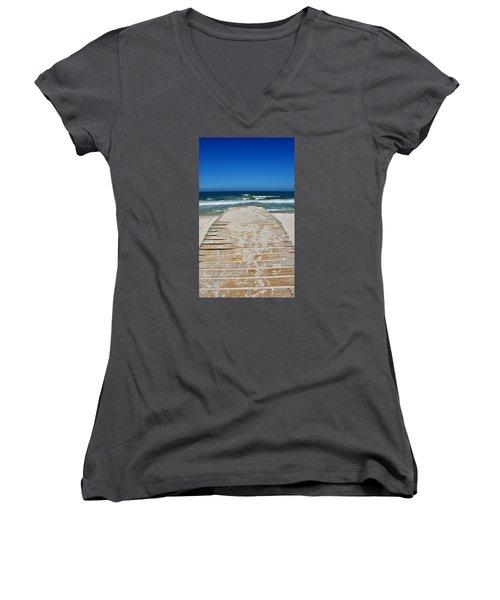 Women's V-Neck T-Shirt (Junior Cut) featuring the photograph long awaited View by Werner Lehmann