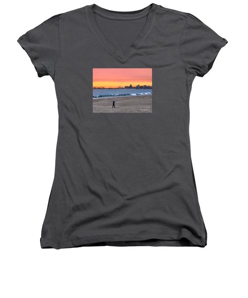 Long Beach From Huntington Beac Women's V-Neck (Athletic Fit)