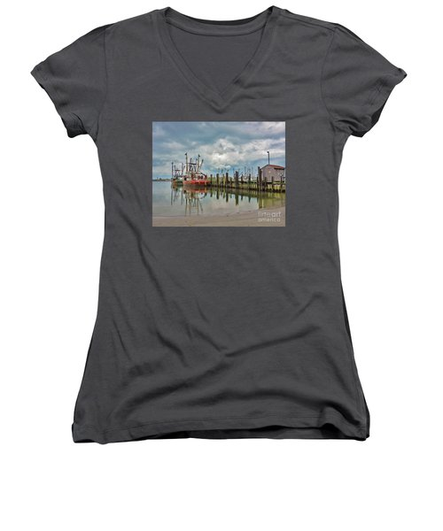 Long Beach Island Docks Women's V-Neck (Athletic Fit)
