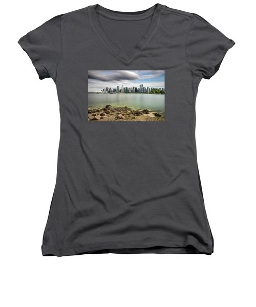 Women's V-Neck T-Shirt (Junior Cut) featuring the photograph Long Exposure Of Vancouver City by Pierre Leclerc Photography