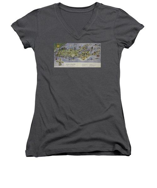 Women's V-Neck T-Shirt (Junior Cut) featuring the photograph Long Island An Interpretive Cartograph by Duncan Pearson